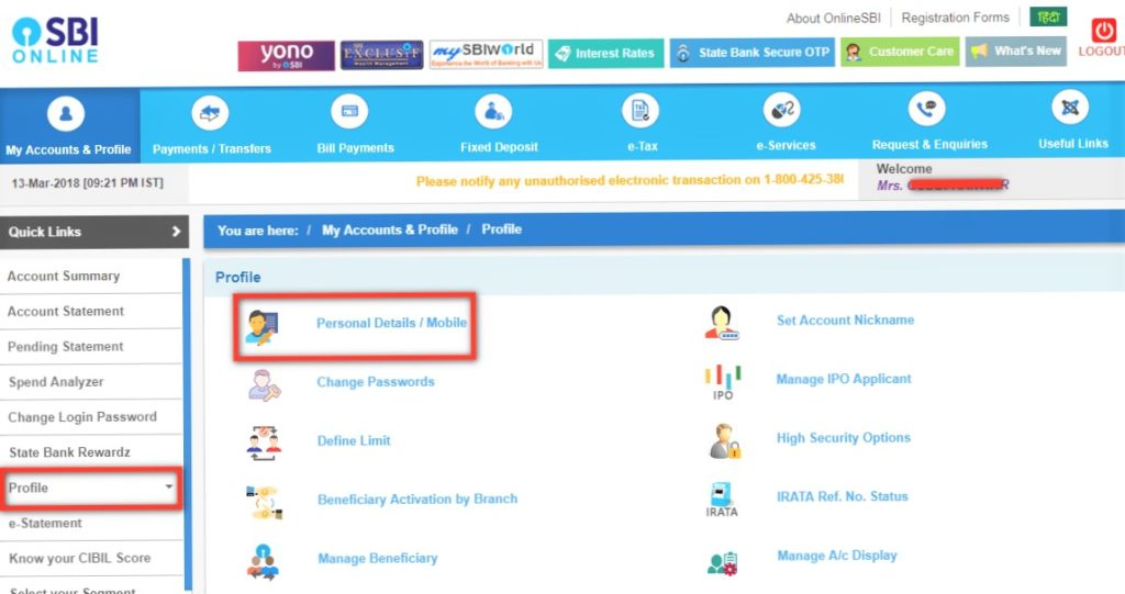 How to change the registered mobile number in SBI bank