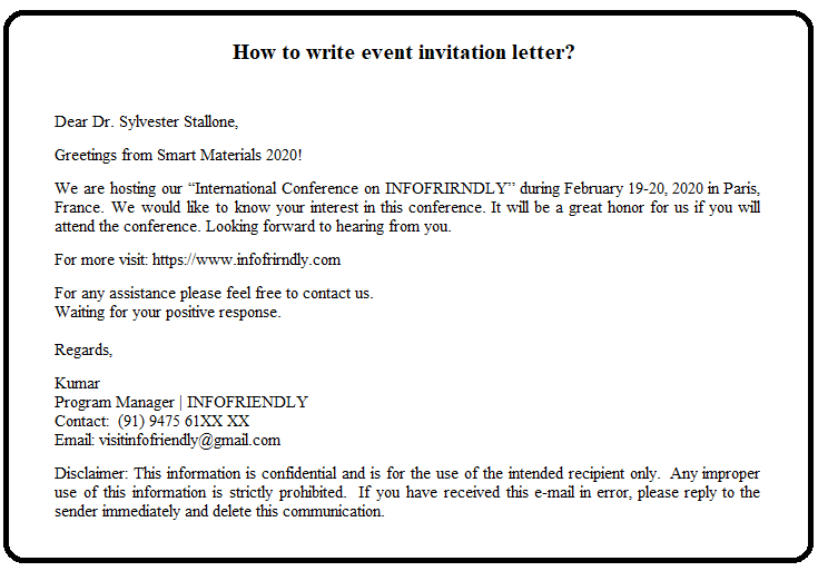 How to write event invitation letter?