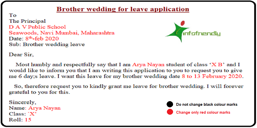 Write An Application To Your Principal For Brother Wedding Leave