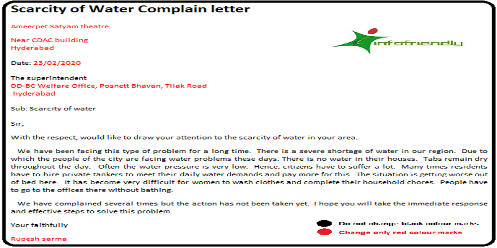 Scarcity of Water Complain letter
