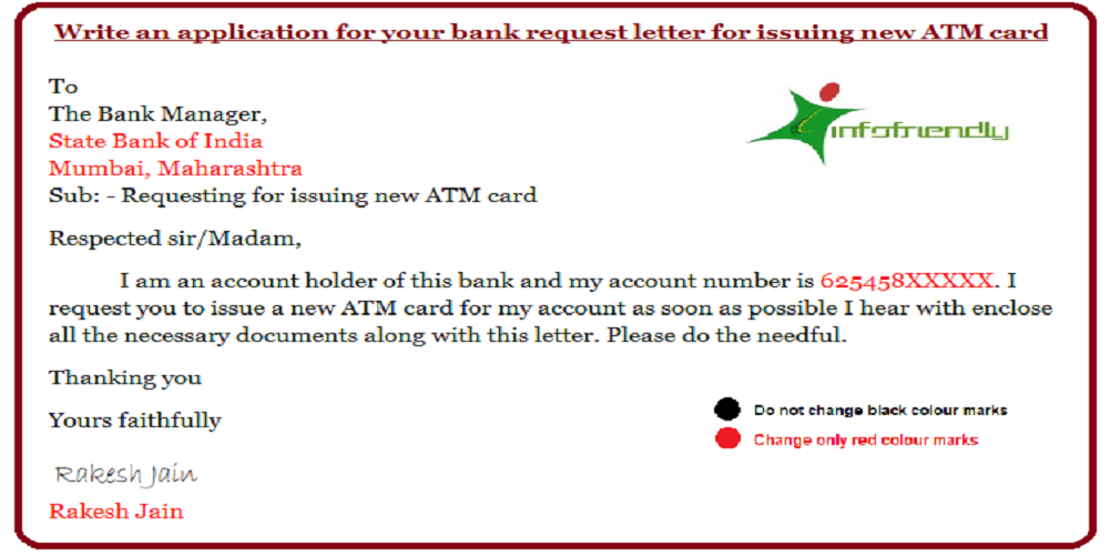 Write an application for your bank request letter for issuing a new ATM card