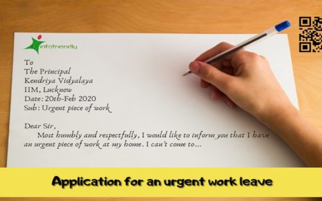 Write an application to your principal for an urgent work leave
