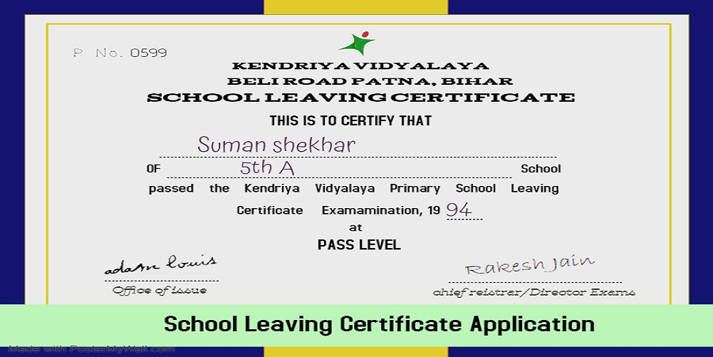 School Leaving Certificate application