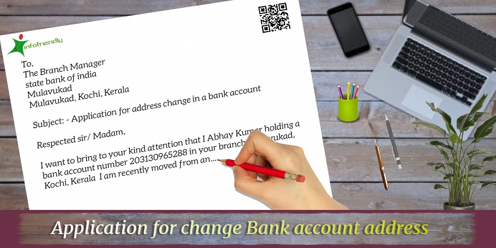 Application for change Bank account address