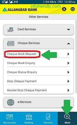 allahabad cheque book request online