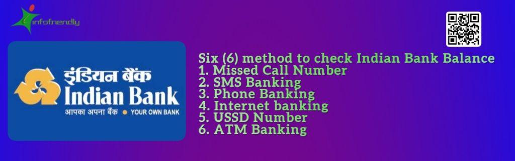 Six (6) method to check Indian Bank Balance