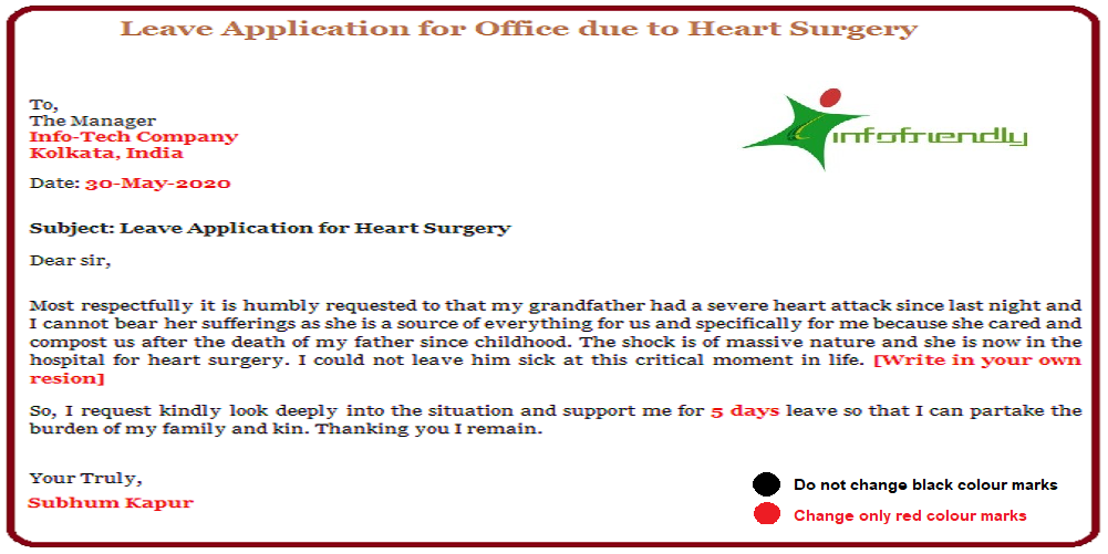 Leave Application for Office due to Heart Surgery