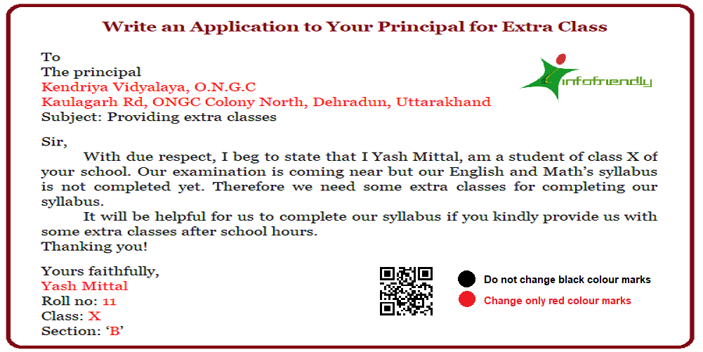 Write An Application To Your Principal For Extra Class