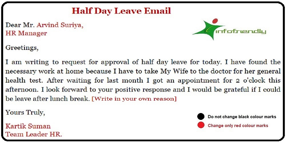 Half Day Leave Email for Office