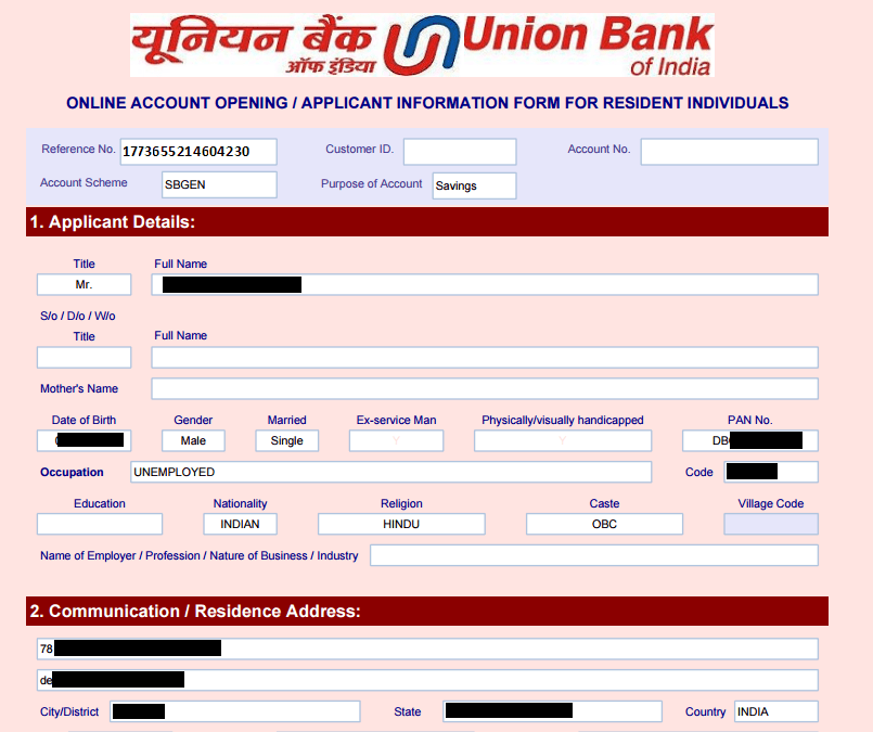 Union Bank India zero balance saving account form