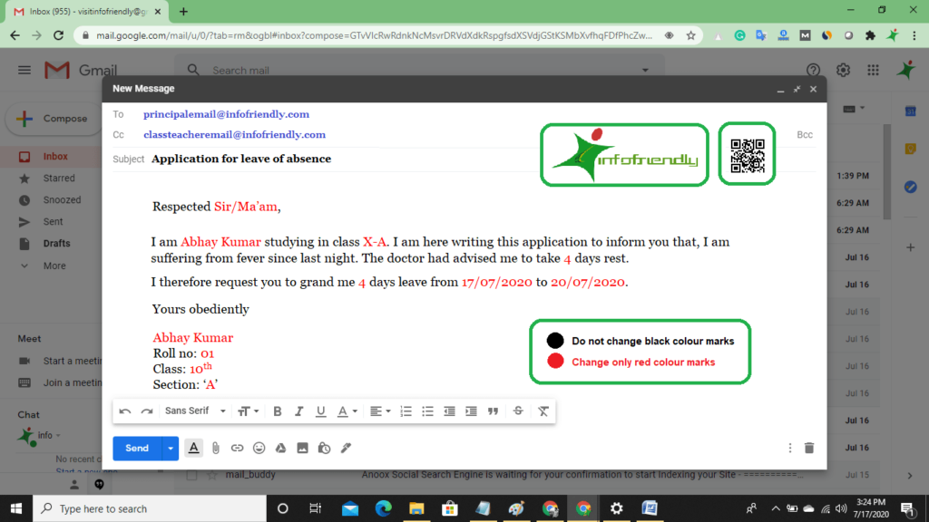 Sick Leave Application for school by email format