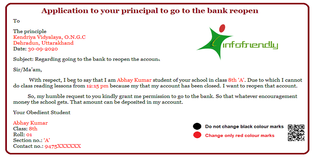 Application to your principal to go to the bank reopen
