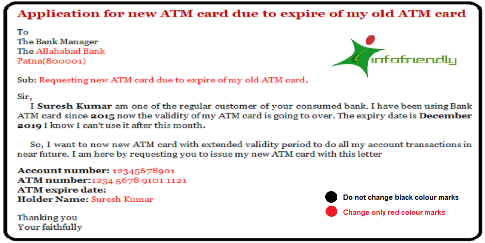 Application for new ATM card due to expire of my old ATM card