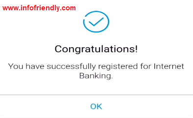 . On submitting, you will get the message of Successful Internet Banking.