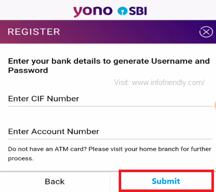 CIF Code And, enter Account Number