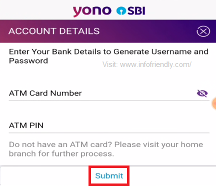 In the next step you have to enter ATM details and click on Submit.
