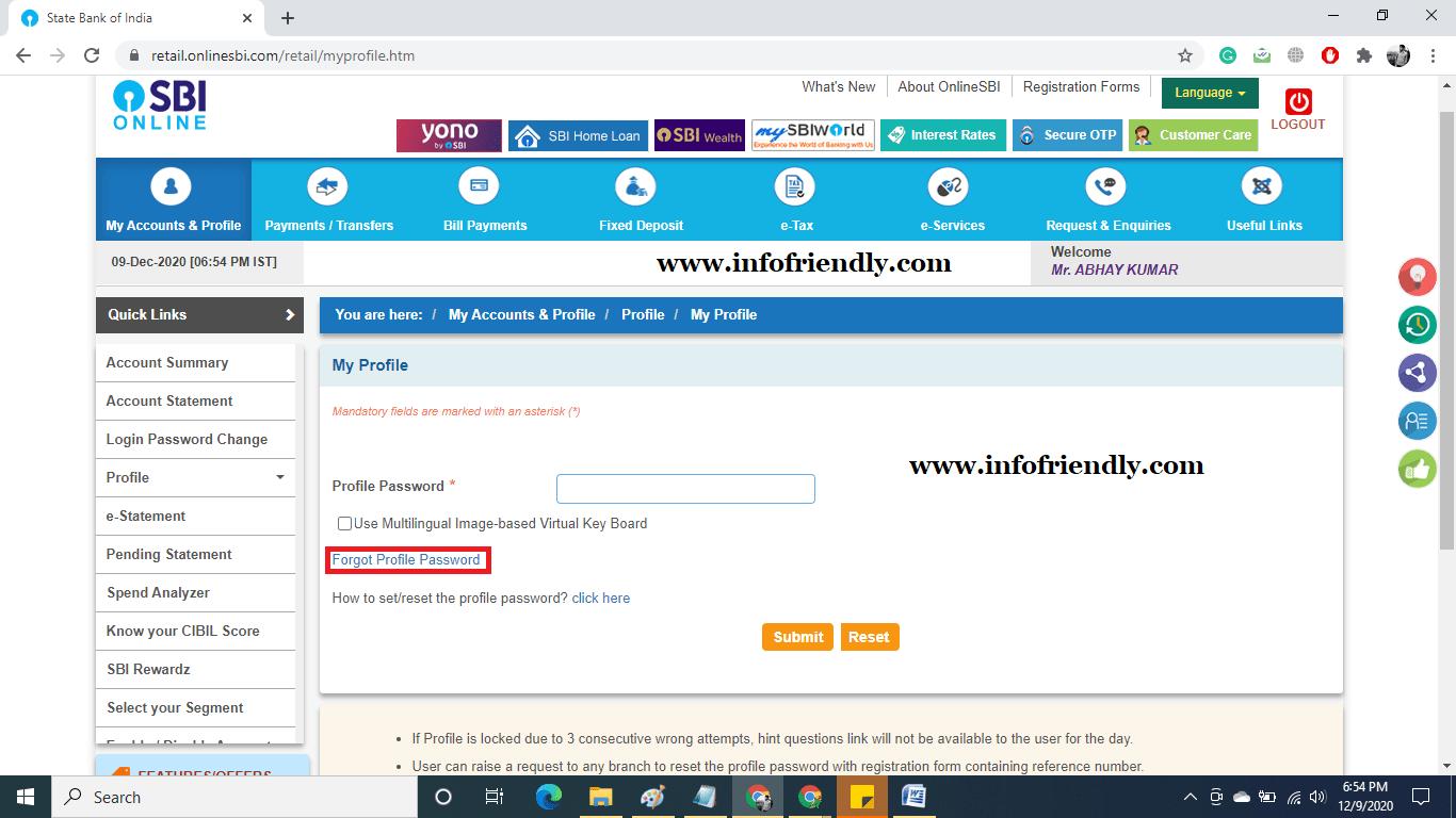 Next go to Forgot Password