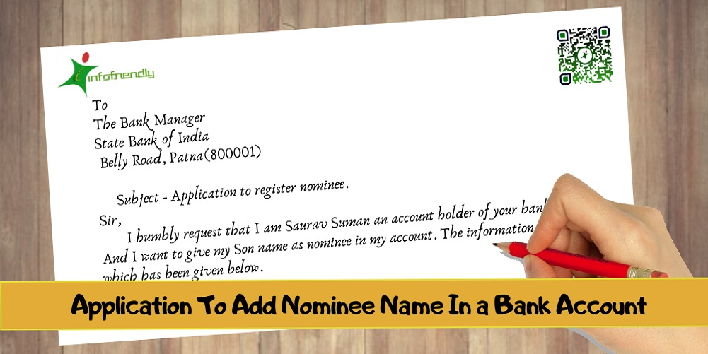 How to write an application to add nominee name to a bank account?