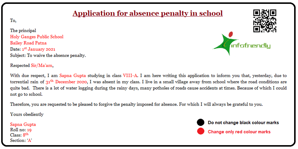 Application for absence penalty in school