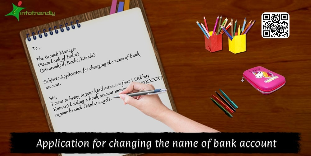 Application for changing the name of bank account