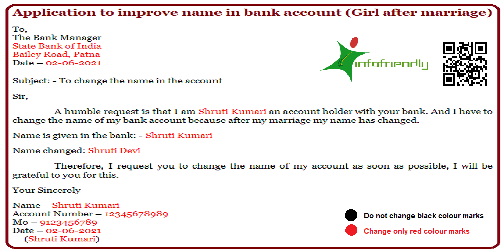 How to change name in bank account and how to write and application?
