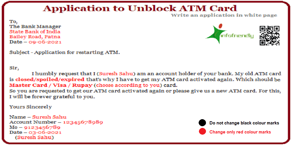 Application to Unblock ATM Card