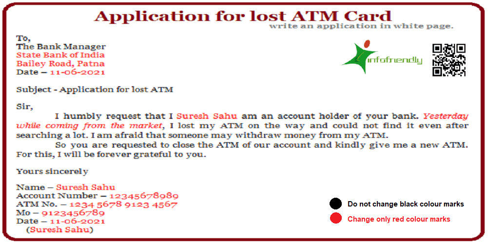 Application for lost ATM Card