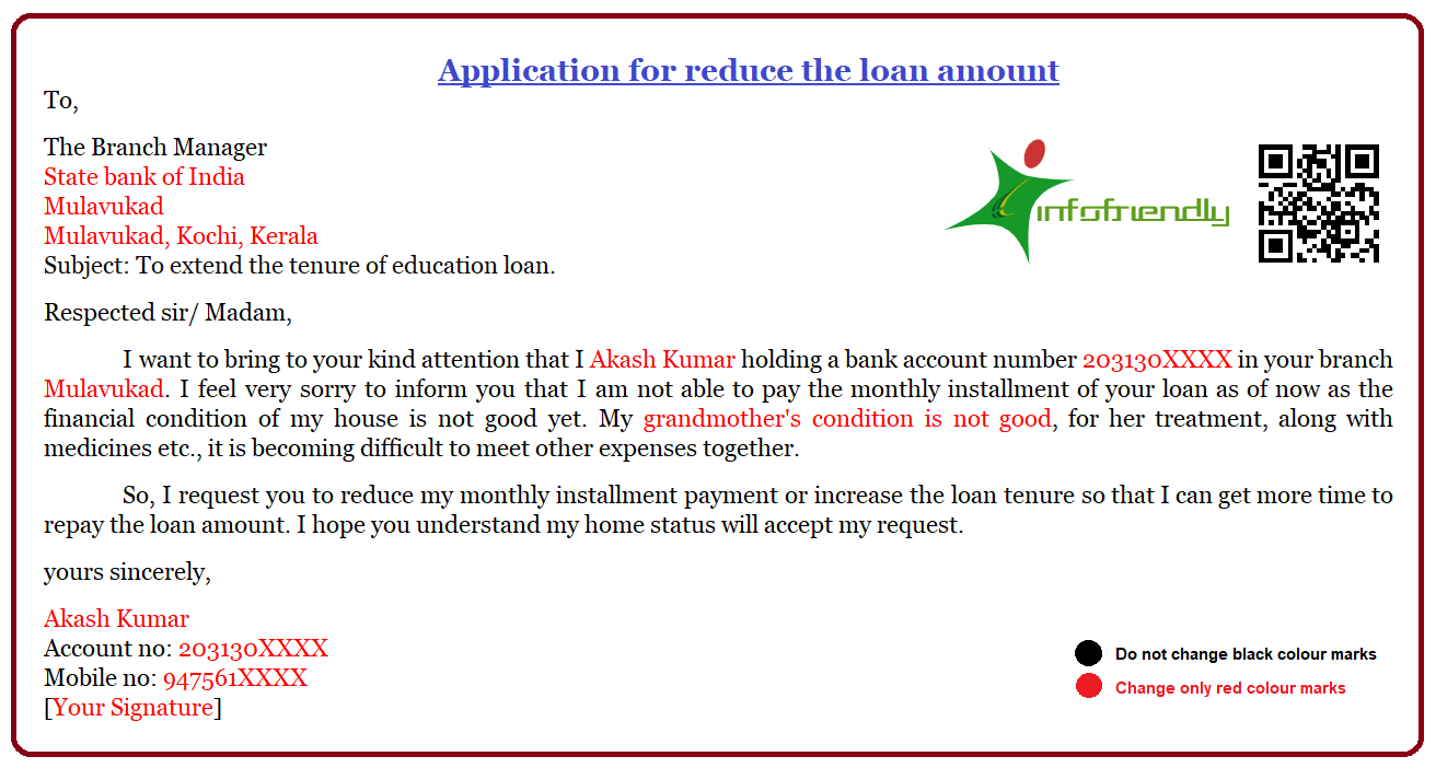 Application for reduce the loan amount