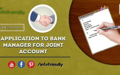 Application to Bank Manager for Joint Account and information