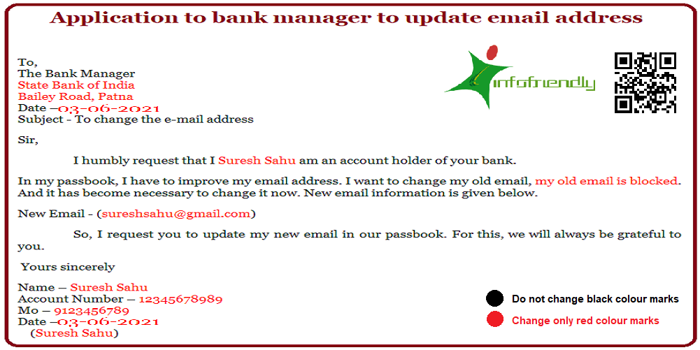 Application to bank manager to update email address
