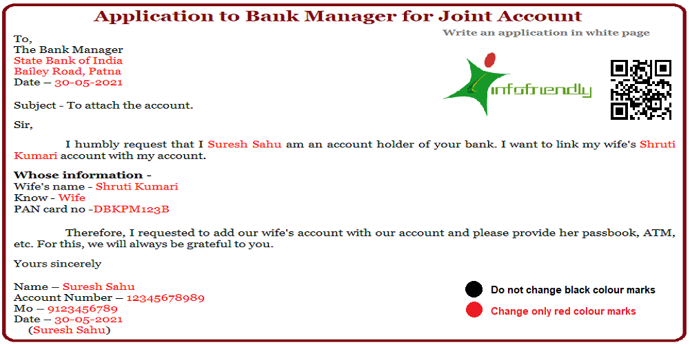 Application to the Bank Manager for Joint Account
