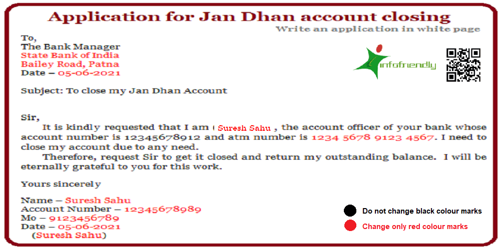 Application for Jan Dhan account closing