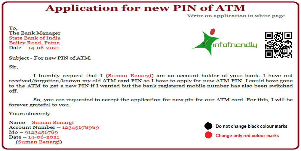 Application for new ATM Card PIN and information