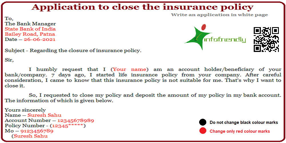 application to close the insurance policy