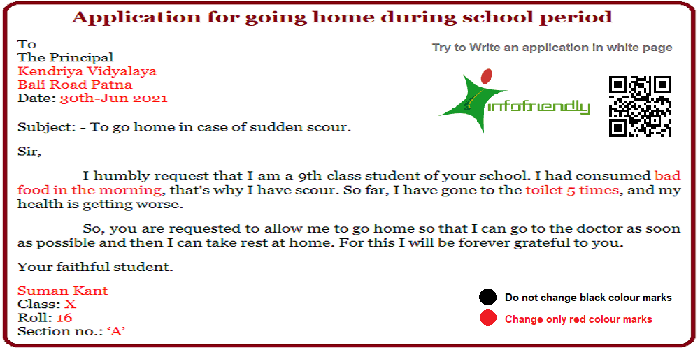 -Application for going home during school period
