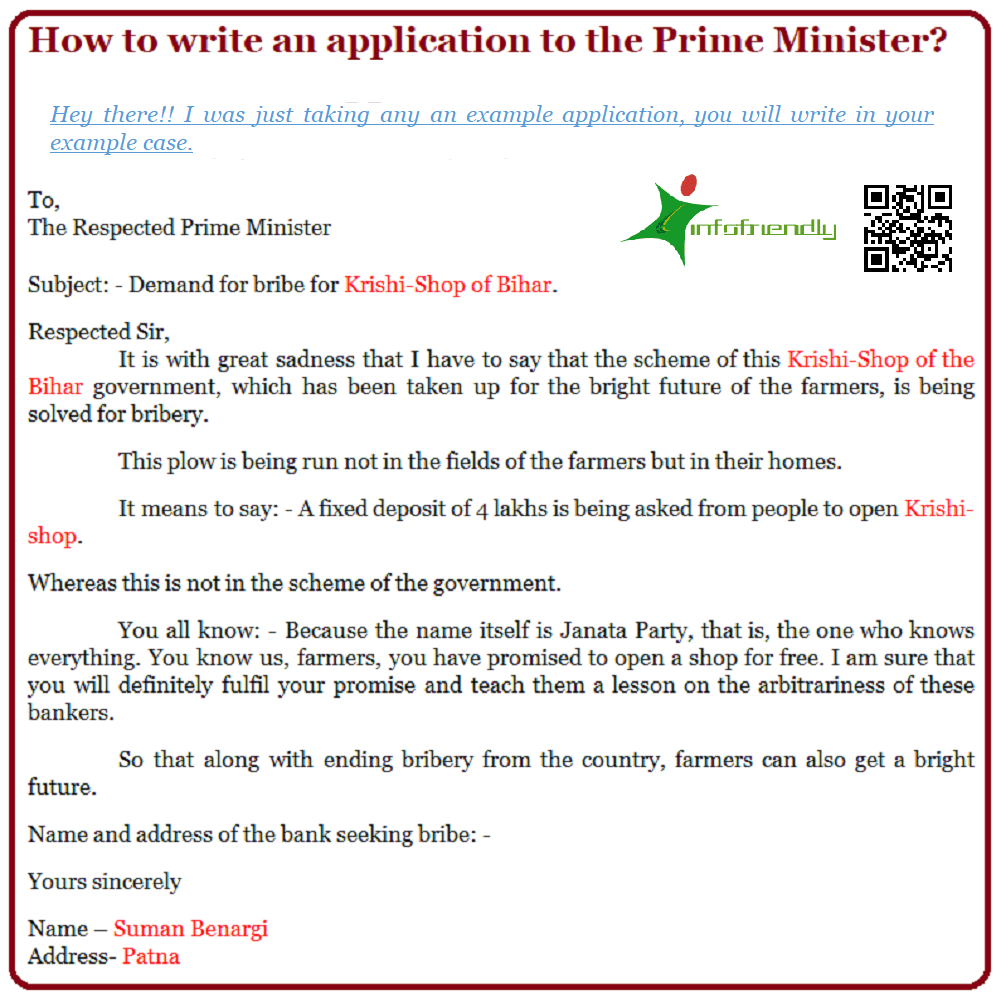 Application to the Prime Minister
